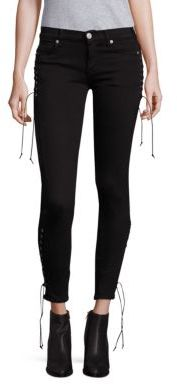Hudson Suki Lace-Up Skinny Ankle Jeans $265 thestylecure.com