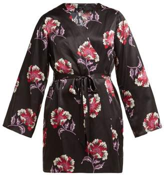 Morgan Lane - Langley Floral Print Short Silk Robe - Womens - Black Print