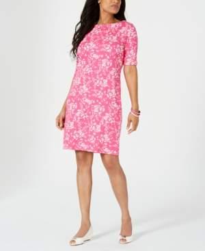 Karen Scott Petite Boat-Neck Elbow-Sleeve Dress, Created for Macy's