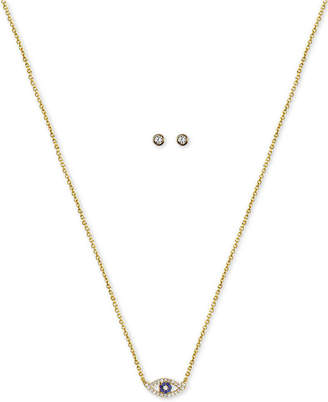 "Kitsch Gold-Tone Crystal Evil Eye Pendant Necklace & Stud Earrings Box Set, 18"" + 1"" extender"