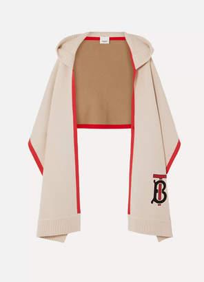 Burberry Hooded Appliquéd Cashmere-blend Scarf - White