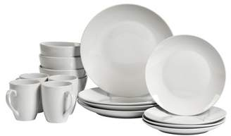 Tabletops Gallery Adams Round Coupe 16 Piece Dinnerware Set, White