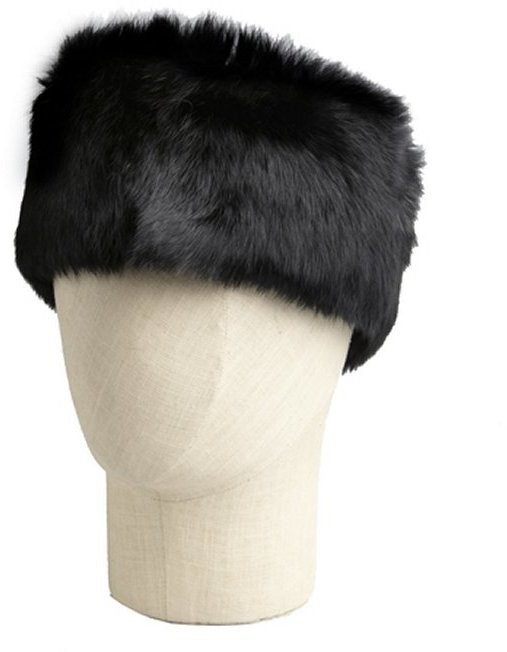 Surell black woven rabbit fur headband