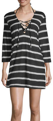 Porto Cruz Striped Knit Swimsuit Cover-Up Dress