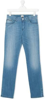 Armani Junior bleach-effect slim-fit jeans