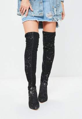 Missguided Black Denim Splash Knee High Boots