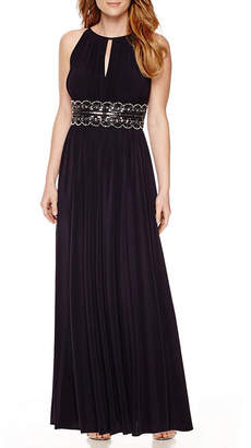 R & M Richards R&M Richards Sleeveless Beaded Halter Dress