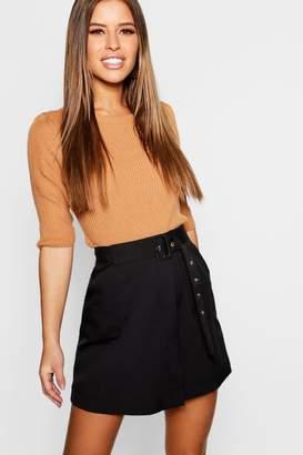 boohoo Petite Self Belt Mini Skirt