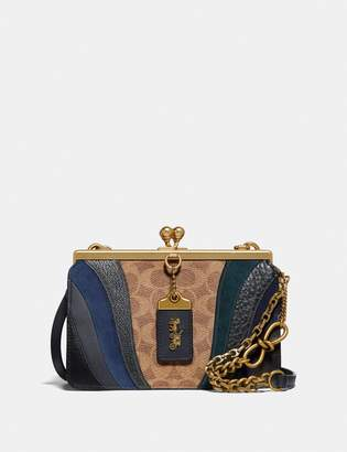 Coach Double Frame Bag 19 In Signature Canvas With Wave Patchwork