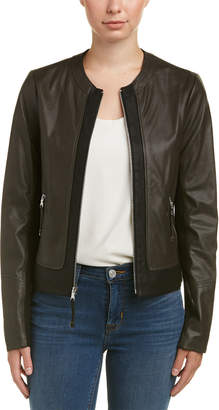 Via Spiga Leather Two-Tone Jacket