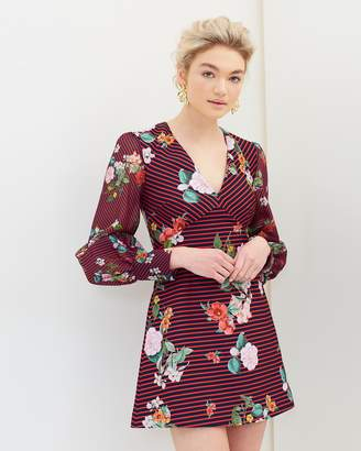 Illusion Long Sleeve Mini Dress