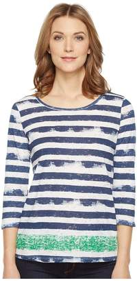 Tribal Burnout 3/4 Sleeve Combo Stripe Top Women's Clothing