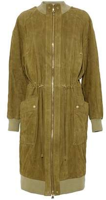 Balmain Gathered Suede Coat