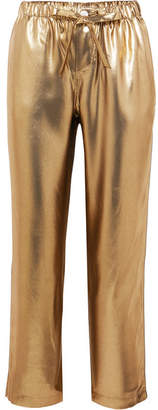 Sleepy Jones Marina Lamé Pajama Pants - Gold