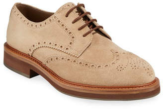 Brunello Cucinelli Men's Suede Wing-Tip Oxfords