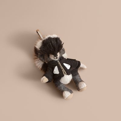 Burberry Burberry Thomas Bear Charm with Shearling and Pallas Heads Appliqué Bomber