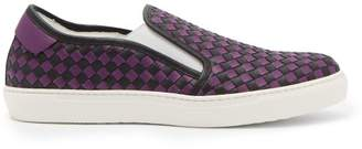 Bottega Veneta Intrecciato Leather Trainers - Mens - Purple Multi