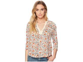 Lucky Brand Long Sleeve Floral Top Women's Short Sleeve Pullover