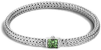 John Hardy Classic Chain Sterling Silver Lava Extra Small Bracelet with Tsavorite