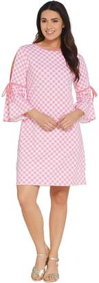 Isaac Mizrahi Live! Gingham T-Shirt Dress with Cutaway Sleeve Detail