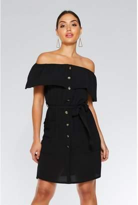 Quiz Black Bardot Tunic Button Dress