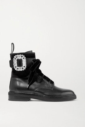 Roger Vivier Viv Rangers Crystal-embellished Paneled Leather And Suede Ankle Boots - Black