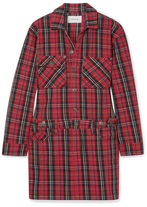 Current/Elliott Tartan Denim Mini Dress - Red