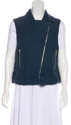 Elizabeth and James Linen-Blend Zip Up Vest w/ Tags