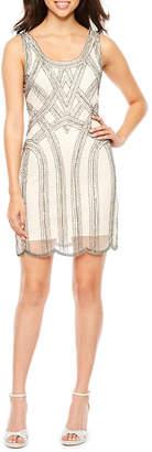 MSK Sleeveless Beaded Sheath Dress