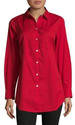 Foxcroft Pleated Front Button-Down Shirt