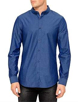 Armani Exchange Dot Diamond Print Chambray L/S Shirt