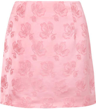 ALEXACHUNG Satin-jacquard Mini Skirt - Pink