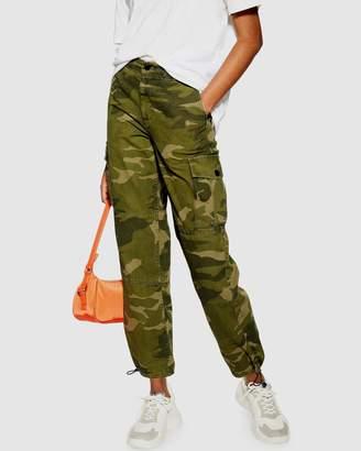 Topshop Frida Cuffed Camo Trousers