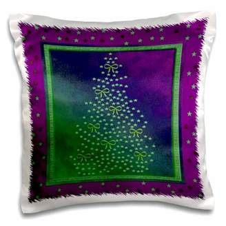 3dRose Stars and Bows on Christmas Tree, Green and Purple - Pillow Case, 16 by 16-inch