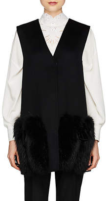 Fendi Women's Fur-Trimmed Wool Vest - Black