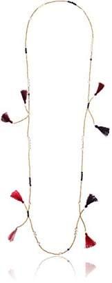 Panacea multi tassel gold bead strand necklace