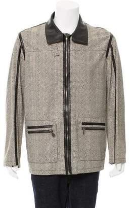 Bijan Herringbone Print Leather Jacket