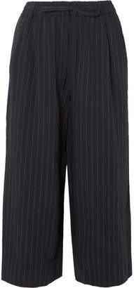 Vince Cropped Pinstriped Twill Wide-leg Pants - Navy