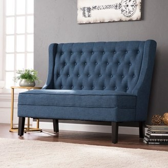 Southern Enterprises Lockley High-Back Tufted Settee Bench, Navy