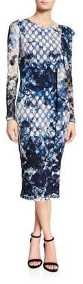 Fuzzi Cascading Ruffle Sheath Midi Dress