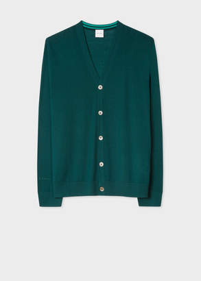 Paul Smith Men's Green Merino Wool Cardigan With Contrast Internal Trims