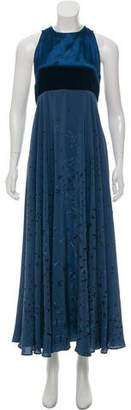 Valentino Velvet-Trimmed Silk Evening Dress