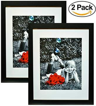 "11x14 Inch Picture Frame Black (2-pack) - GLASS FRONT COVER - Displays an 11 by 14"" Picture w/o Mat or an 8x10 Photo with Mat - Vertical or Horizontal Mounts & Easy To Hang - No Hardware to Install."