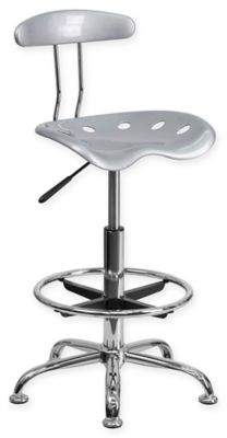 Flash Furniture Drafting Stool with Tractor Seat in Vibrant Silver