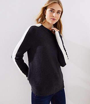 LOFT Side Stripe Mock Neck Sweater