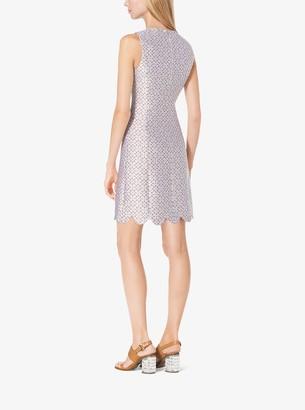 Michael Kors Eyelet Silk-Jacquard Shift Dress