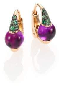 Pomellato M'Ama Non M'Ama Amethyst, Tsavorite & 18K Rose Gold Leverback Earrings