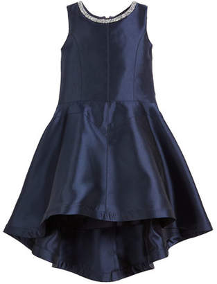 Zoe Kate High-Low Matte Sateen Dress w/ Crystal Collar, Size 7-16