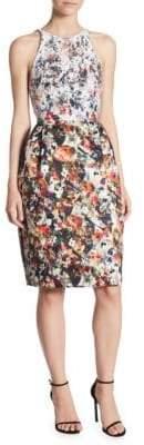 ML Monique Lhuillier Floral Sequin Tie Dress