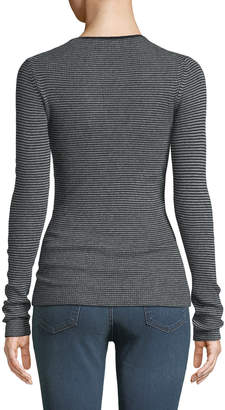 Vince Cashmere Striped Ribbed Top